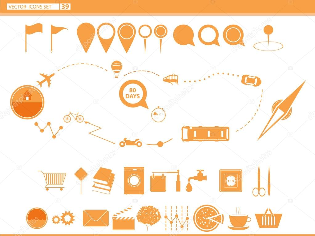 Vector set icons modes of transport.