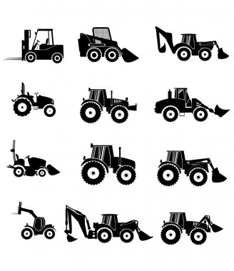 Vector collection tractor and silhouettes.