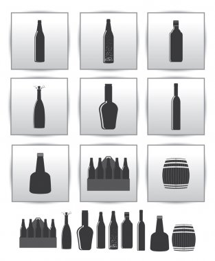 Vector alcoholic drinks icon. square gray set