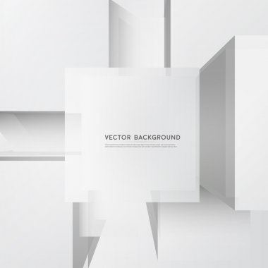 Vector abstract white 3d squares. Background with squares element clip art vector