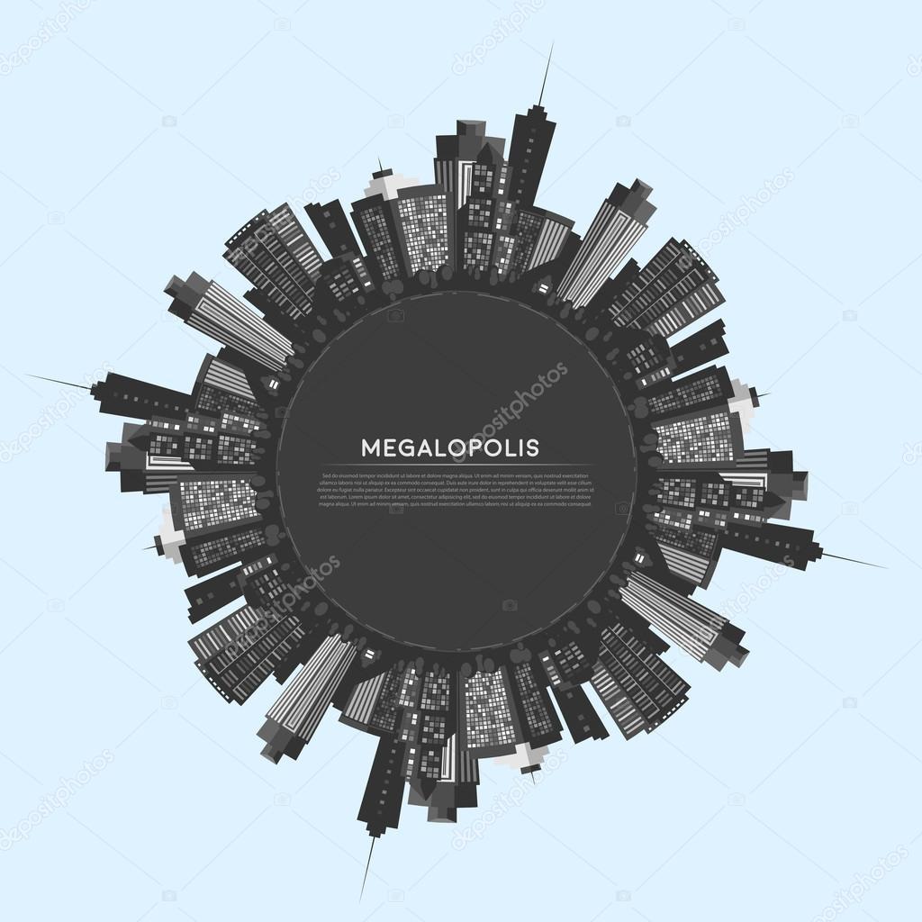 Vector circle modern city.