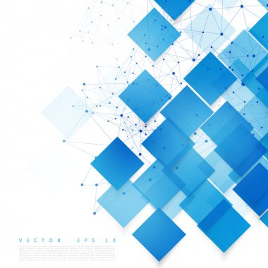 Vector blue squares. Abstract background. Sky blank clip art vector