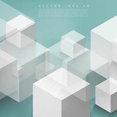 Vector Abstract geometric shape from gray cubes. Turquoise squares stock vector