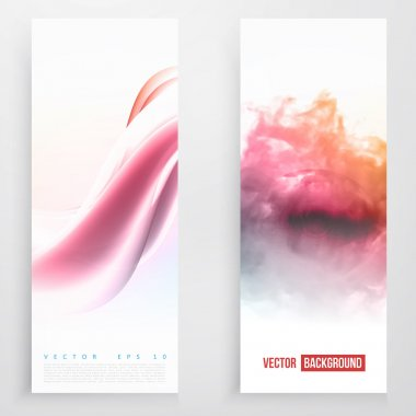 Set of wavy banners.