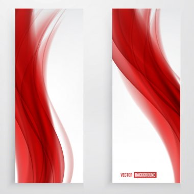 Set of wavy banners. Set of red silk header clip art vector