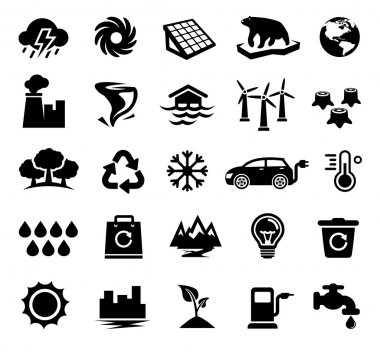 Vector Illustration of Climate Change Icons. Best for Environment, Ecology, Climatology, Conservation, Design Element concept. clip art vector