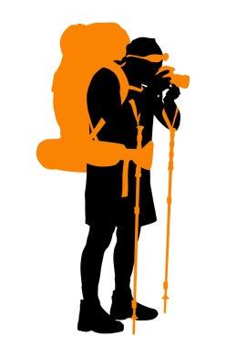 Backpacker. Vector  silhouette