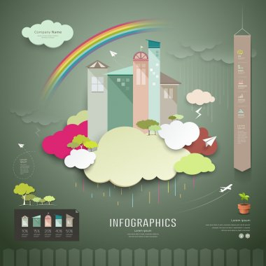 Vector, trend house for the annual rainy season. info graphics background