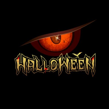 Halloween message red eyes with bat and blood red design