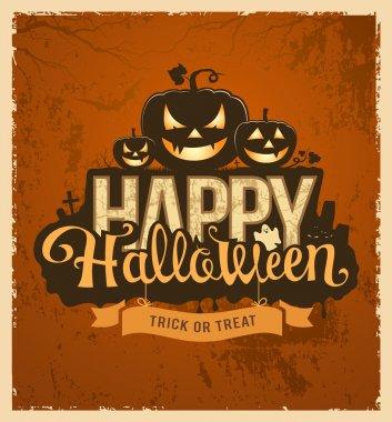 Happy halloween pumpkin message design