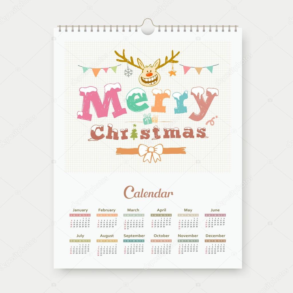 Kalender-sketch-Frohe Weihnachten-Rentier-Gestaltung — Stockvektor ...
