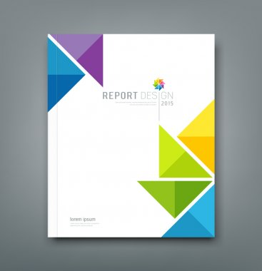 Cover Annual report, colorful windmill origami paper design