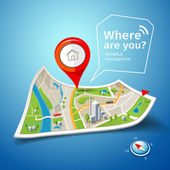 Skládané mapy navigace s červenou barvu bodu značkami