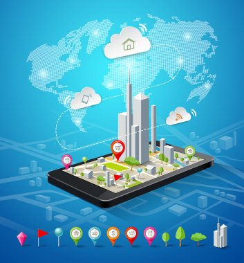 Mobile navigation map icons connections design background, vector illustration clip art vector