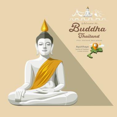 White Buddha and yellow robe of Thailand