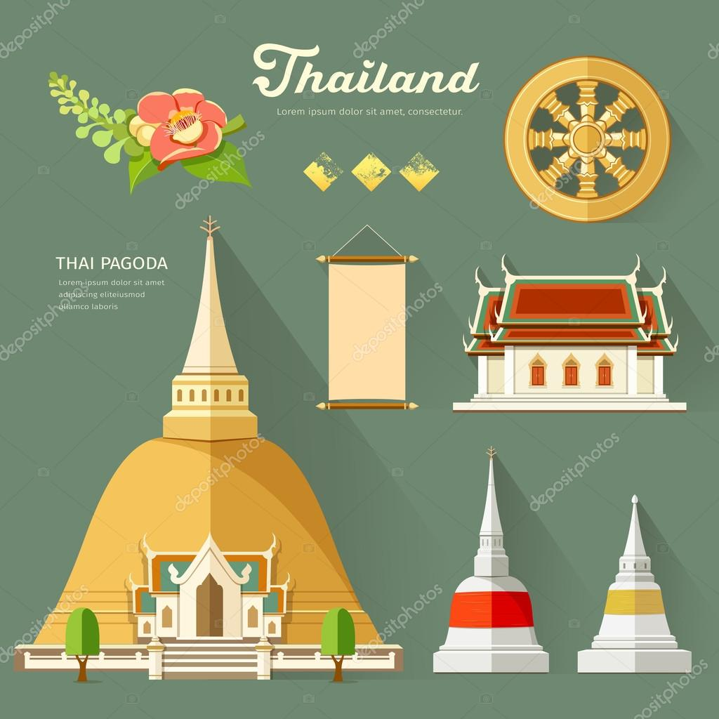 Thai Pagoda with temple, wheel of life collections of thailand
