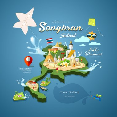 Songkran Festival in Thailand with kite, pagoda sand design