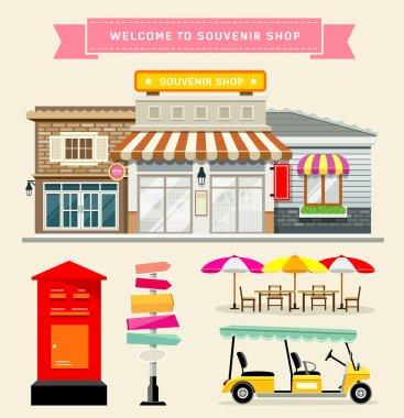 Vector Souvenir shop collections concepts design