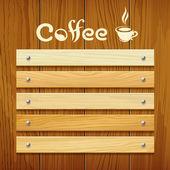 Kávé menü fa fedélzet tervez