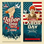 Fotografie Happy Labor day american banner collections