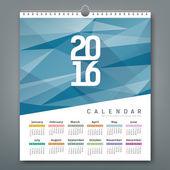 Kalendář 2016, geometrické trojúhelníky modré pozadí
