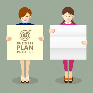 Business woman holding presentation project plan
