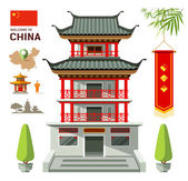 Photo Vector Building of China travel design background