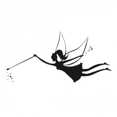 Fairy black silhouette with a magic wand