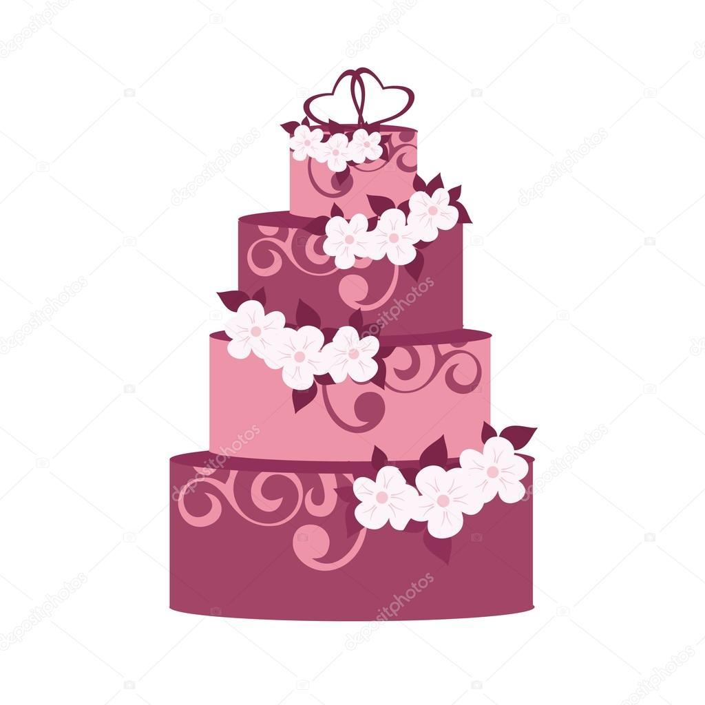 Hochzeitstorte Mit Deko Blumen Stockvektor C Kaimena1 119551012