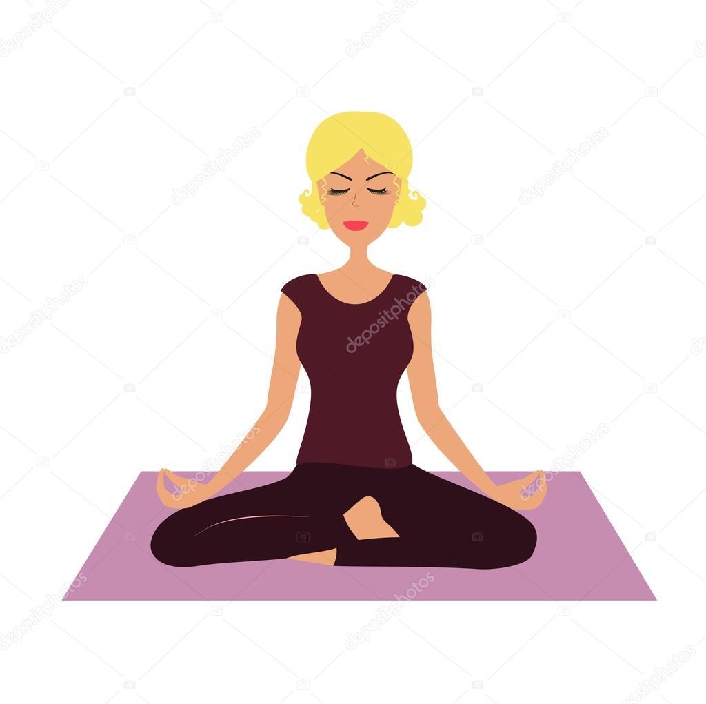 fille de dessin anim en position d yoga image vectorielle kaimena1 122717768. Black Bedroom Furniture Sets. Home Design Ideas