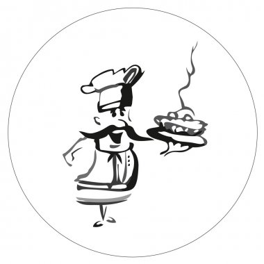 Cook chef with pie. Vector.