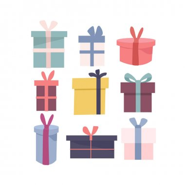 Set of different isolated icons of wrapped colored gift boxes in different shape. Birthday present theme. Christmas card poster banner. Completed flat vector illustration. icon