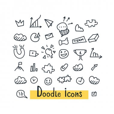 Hand Drawn seamless set of doodle pattern with business symbols, social icons, and financial infographics elements on white background. Completed flat cartoon isolated vector illustration icon