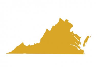 Golden Map of US Federal State of Virginia (Old Dominion, Mother of Presidents)