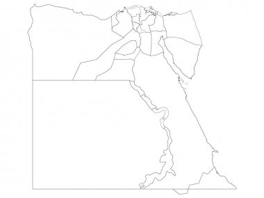 White Governorates Map of Transcontinental Country of Egypt icon