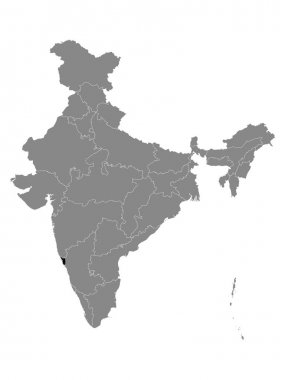 Black Location Map of Indian State of Goa within Grey Map of India icon