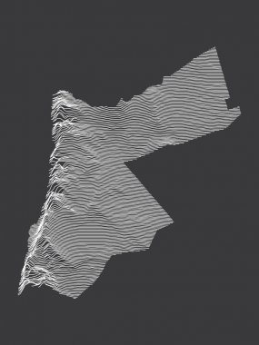 Dark Black and White 3D Contour Topography Map of Middle Eastern Country of Jordan icon
