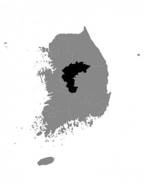Black Location Map of South Korean Province of North Chungcheong within Grey Map of South Korea icon