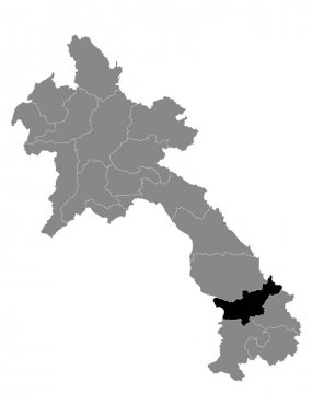 Black Location Map of the Laotian Province of Salavan within Grey Map of Laos icon
