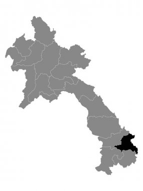 Black Location Map of the Laotian Province of Sekong within Grey Map of Laos icon