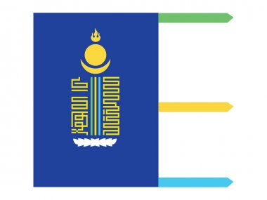 Vector Illustration of the Flag of Mongolian Province of vrkhangai icon