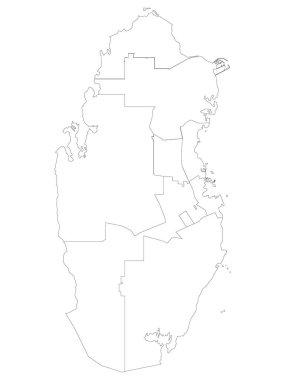 White Flat Municipalities Map of Asian Country of Qatar icon
