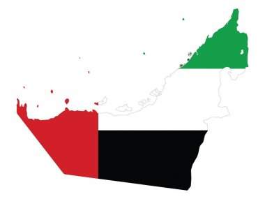 Vector Illustration of the Flag Incorporated Into the Map of United Arab Emirates icon