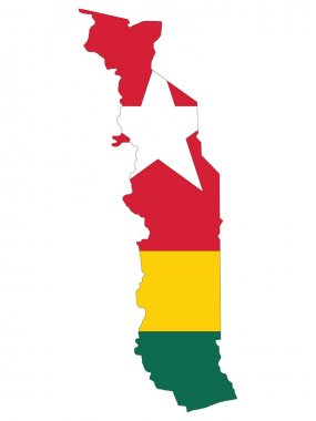 Vector Illustration of the Flag Incorporated Into the Map of Togo icon