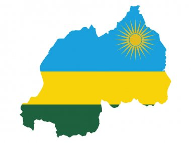 Vector Illustration of the Flag Incorporated Into the Map of Rwanda icon