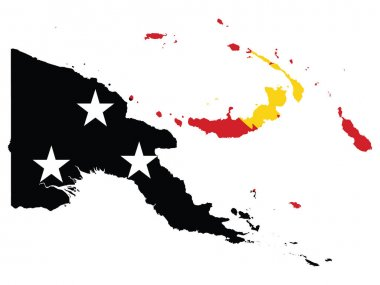 Vector Illustration of the Flag Incorporated Into the Map of Papua New Guinea icon