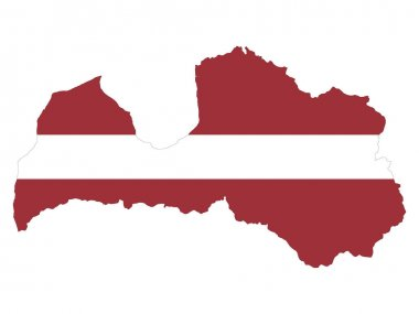 Vector Illustration of the Flag Incorporated Into the Map of Latvia icon