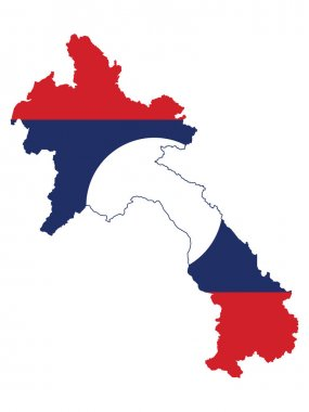 Vector Illustration of the Flag Incorporated Into the Map of Laos icon