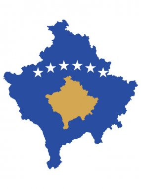 Vector Illustration of the Flag Incorporated Into the Map of Kosovo icon