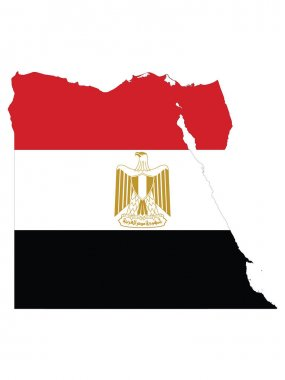 Vector Illustration of the Flag Incorporated Into the Map of Egypt icon